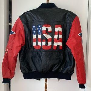 Vintage genuine leather bomber jacket
